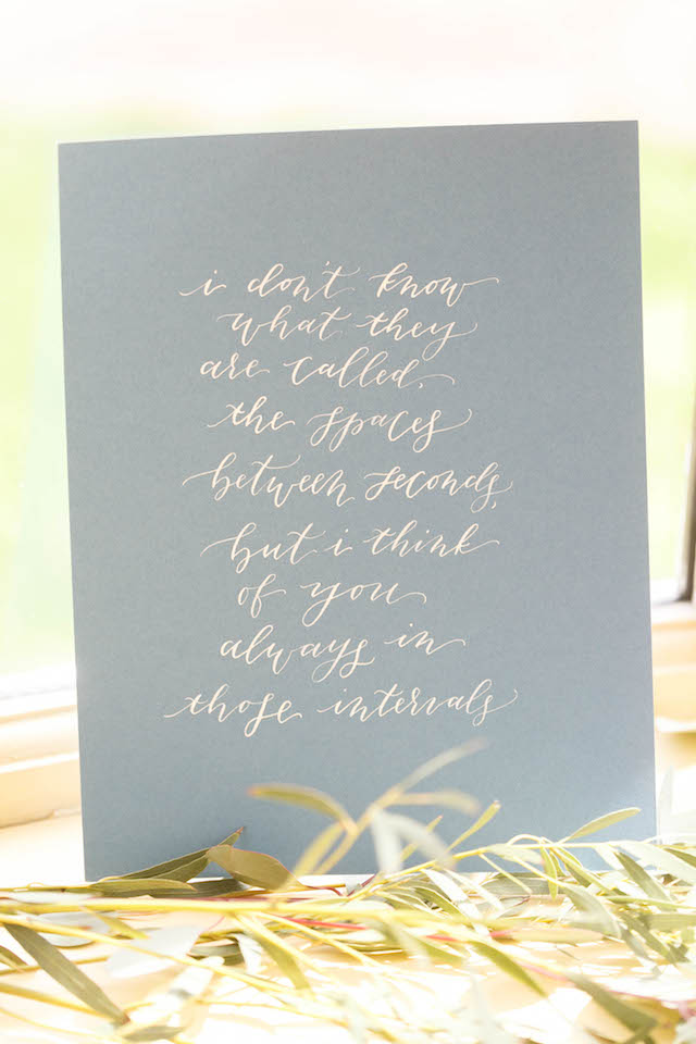 Love quote in calligraphy | V.A. Photography | see more on: http://burnettsboards.com/2015/12/eastern-shore-wedding/