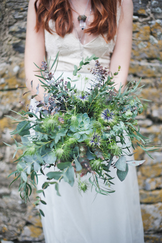 Greenery and succulent bouquet with thistles | Laura Power Photography and @thewedbazaar | see more on: http://burnettsboards.com/2015/12/gem-themed-wedding-castle/