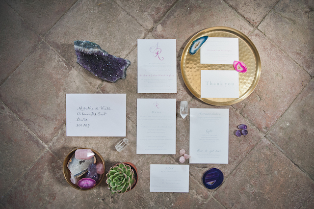 Geode wedding invitations | Laura Power Photography and @thewedbazaar | see more on: http://burnettsboards.com/2015/12/gem-themed-wedding-castle/