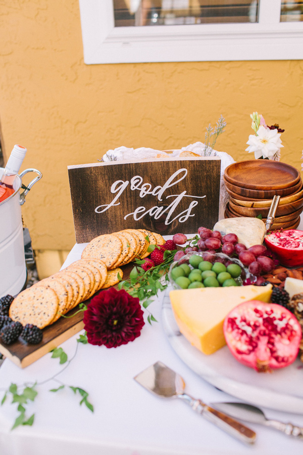 food sign - photo by Yasmin Sarai Photography http://ruffledblog.com/rose-inspired-bridal-shower