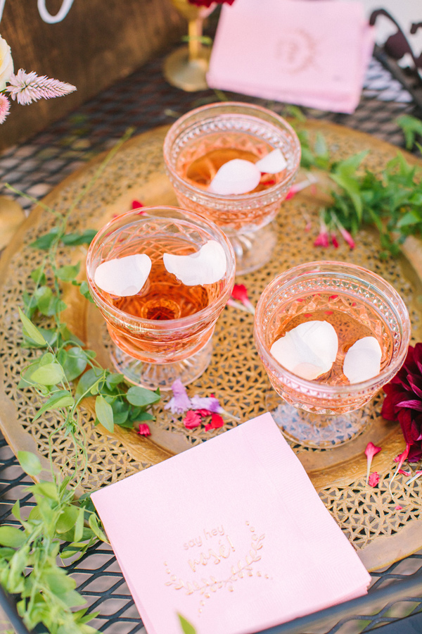 bridal shower drinks - photo by Yasmin Sarai Photography http://ruffledblog.com/rose-inspired-bridal-shower