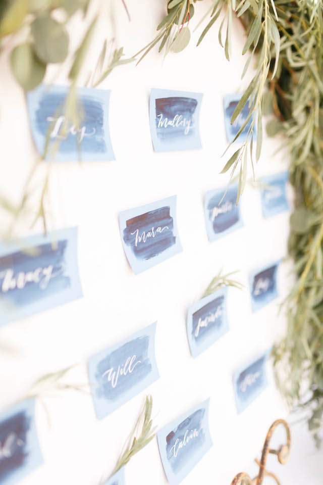 Blue watercolor place cards | V.A. Photography | see more on: http://burnettsboards.com/2015/12/eastern-shore-wedding/