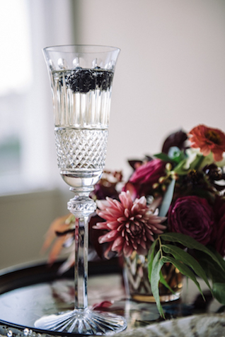Champagne with blackberries | Cari Courtright Photography | see more on: http://burnettsboards.com/2015/12/vintage-glam-bridal-boudoir/