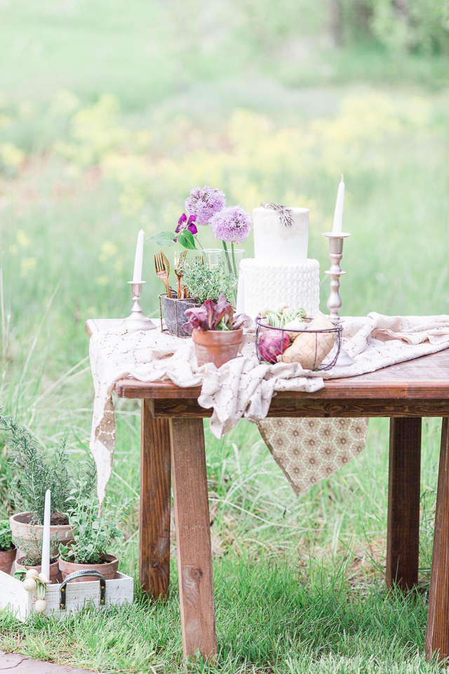 Farm wedding cake display | Chris Loring Photography | see more on: http://burnettsboards.com/2015/12/roots-shoot-an-elegant-organic-farm-wedding/