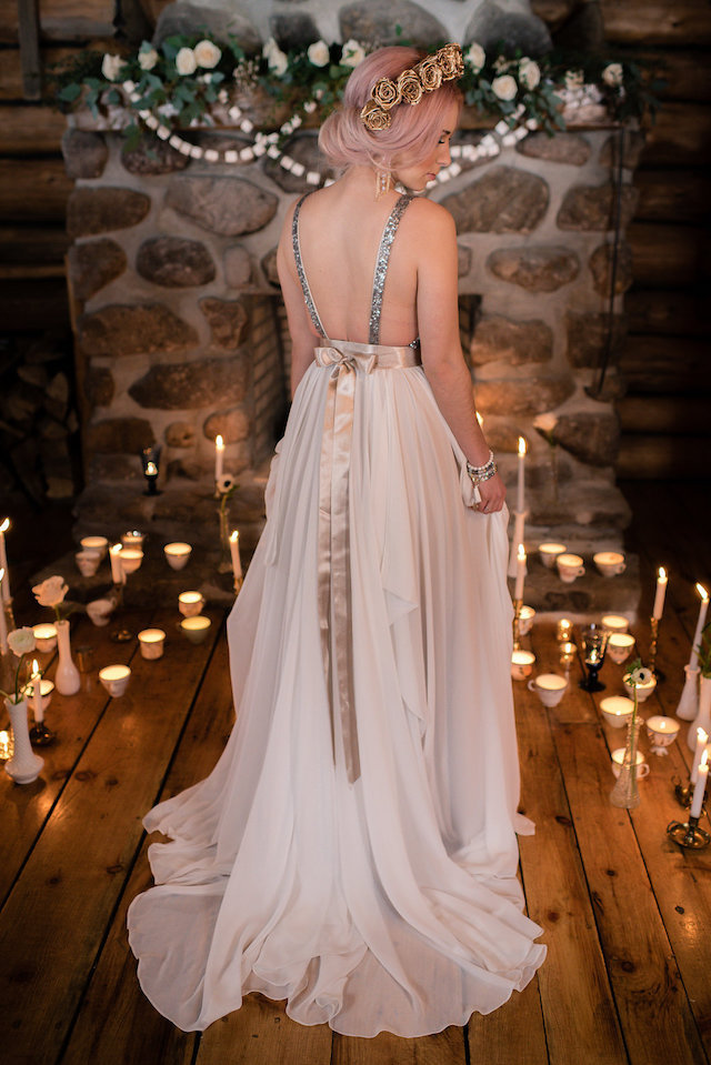 Truvelle wedding dress with sequins | Lovely Peonies Photography | see more on: http://burnettsboards.com/2015/12/cozy-winter-wedding-knit-details/