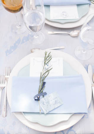 Blue place setting with rosemary sprig | V.A. Photography | see more on: http://burnettsboards.com/2015/12/eastern-shore-wedding/