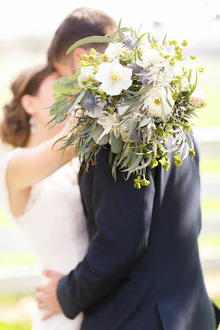 Blue, green, and white bridal bouquet | V.A. Photography | see more on: http://burnettsboards.com/2015/12/eastern-shore-wedding/