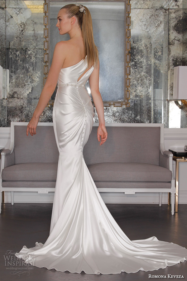 romona keveza fall 2016 luxe bridal one shoulder satin chic simple fit to flare elegant mermaid wedding dress rk6464