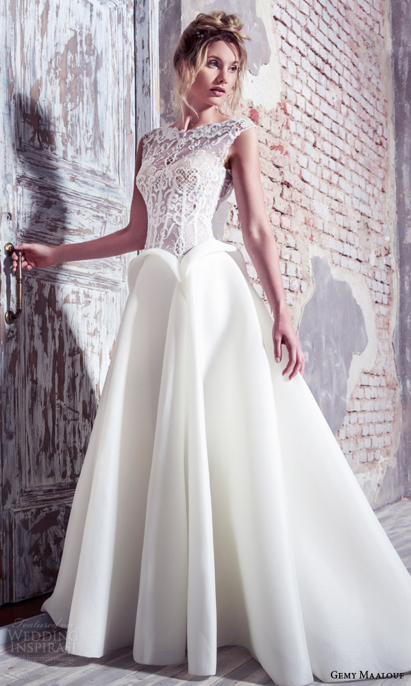 gemy maalouf bridal 2016 unconventional cap sleeve lace bodice ball gown wedding dress peplum