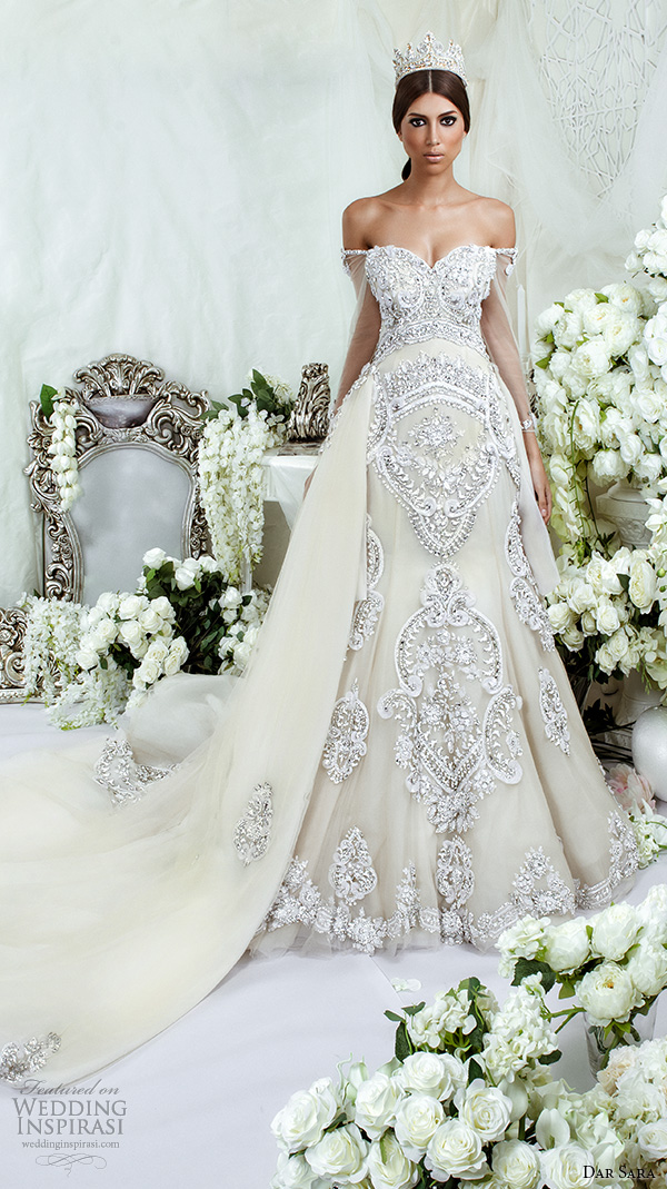 dar sara bridal 2016 wedding dresses extravagant a line gown off the shoulder strap sweetheart neckline embellishment embroidery