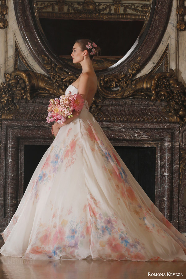 romona keveza spring 2016 luxe bridal rk6409 strapless ball gown italian silk organza soft floral watercolor print enamel floral brooch side