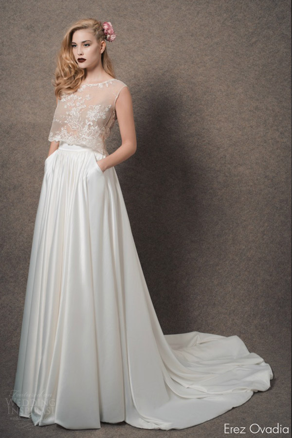erez ovadia bridal 2015 blossom grace two piece wedding dress sleeveless illusion crop top skirt
