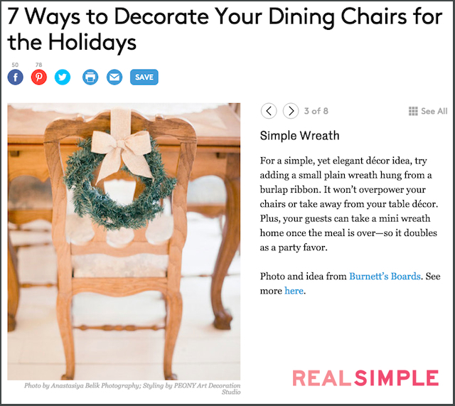 holiday chair decor | see more on: http://burnettsboards.com/2016/01/publishing-blogs-v-print/