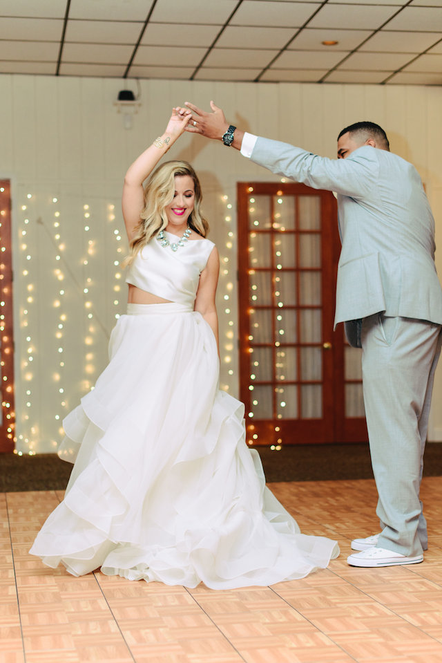 Crop top two piece wedding dress | Madison Short Photography | see more on: http://burnettsboards.com/2016/01/taylor-swift-inspired-wedding/
