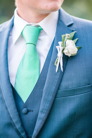 Golf themed boutonnière | Audrey Rose Photography | see more on: http://burnettsboards.com/2016/01/masters-golf-tournament-inspired-wedding/