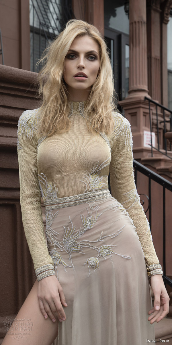 inbal dror 2016 long sleeve high neck knit beige color wedding dress style 29 slit skirt mv