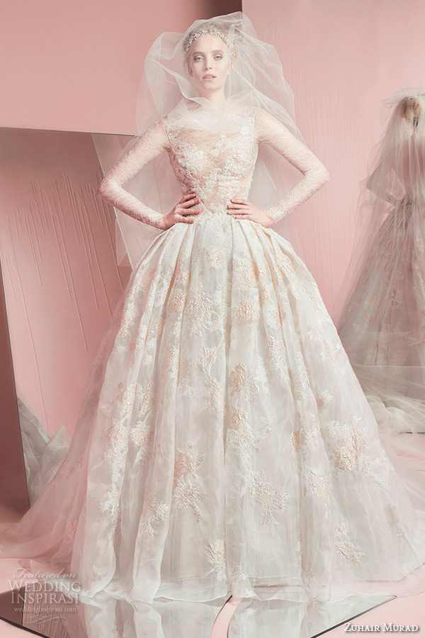 zuhair murad spring summer 2016 bridal long sleeves lace bateau neckline glamorous wedding ball gown dress pia