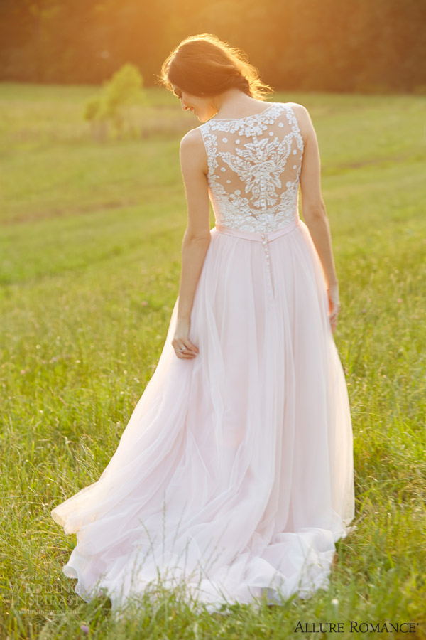 allure bridals romance fall 2015 style 2716 wedding dress sleeveless ivory pink illusion back full view