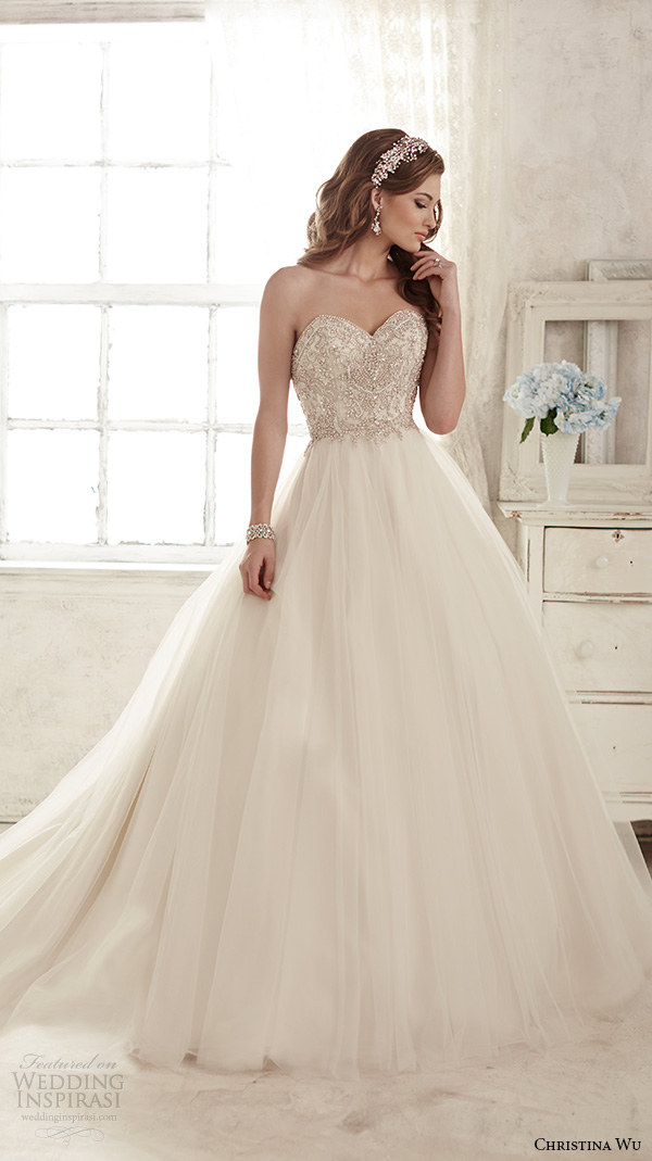 5748850b1ee christina wu wedding dresses 2015 strapless sweetheart neckline embroidered  bodice tulle skirt gorgeous ball gown wedding