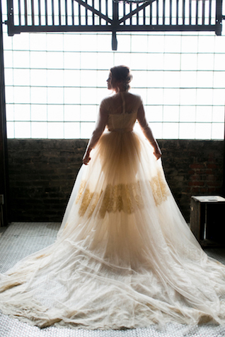 Peekaboo skirt wedding dress | Alea Lovely Photography | see more on: http://burnettsboards.com/2016/01/affordable-couture-wedding-dresses/