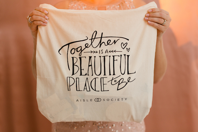 Together is a beautiful place to be tote bag | Jessica Haley Photography | @aislesociety | see more on: http://burnettsboards.com/2016/01/aisle-society-debut-sponsored-minted/