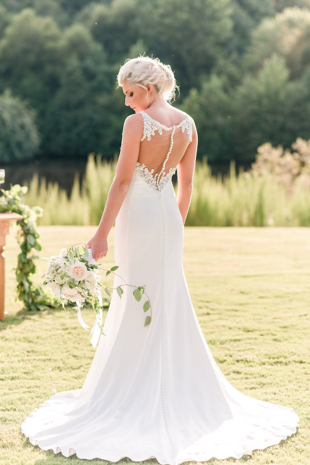 Illusion back wedding dress | Audrey Rose Photography | see more on: http://burnettsboards.com/2016/01/masters-golf-tournament-inspired-wedding/