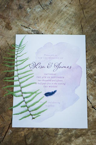 Watercolor and feather wedding invitation | Lauren Kriedemman Photography | see more on:http://burnettsboards.com/2016/01/enchanted-forest-wedding-inspiration/