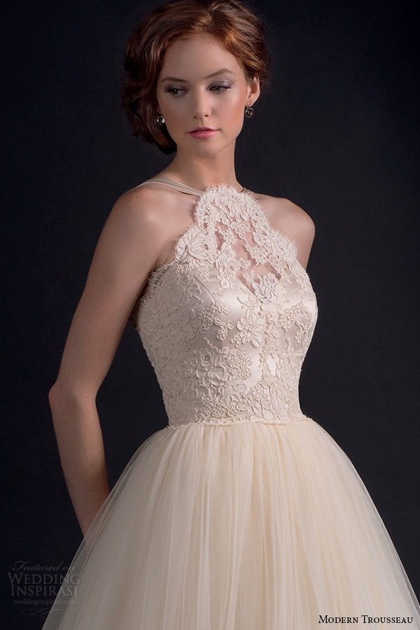 modern trousseau fall 2016 bridal gowns beautiful a line wedding ball gown dress halter neck lace embroidered bodice tulle skirt style adore closeup