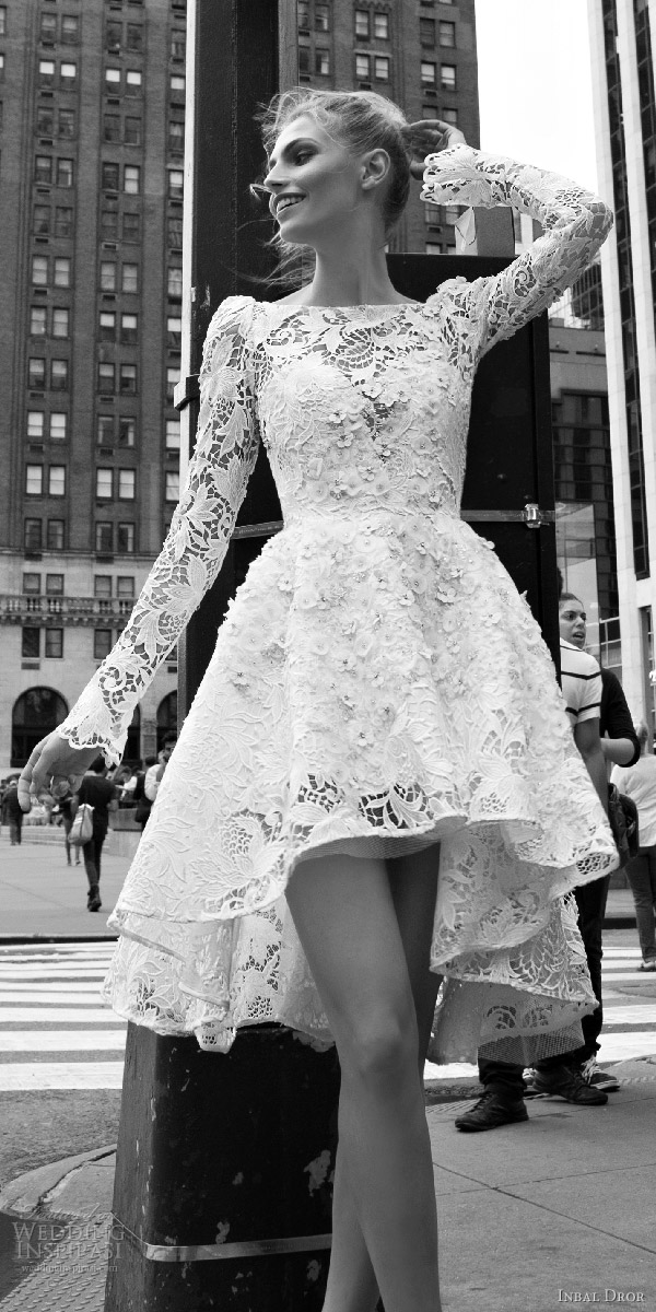 inbal dror 2016 bateau neck long bell sleeve lace ball gown short high low wedding dress style 02