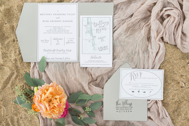 Seafoam wedding invitation suite   Alicia Lacey Photography   see more on: http://burnettsboards.com/2016/01/darling-outer-banks-wedding/