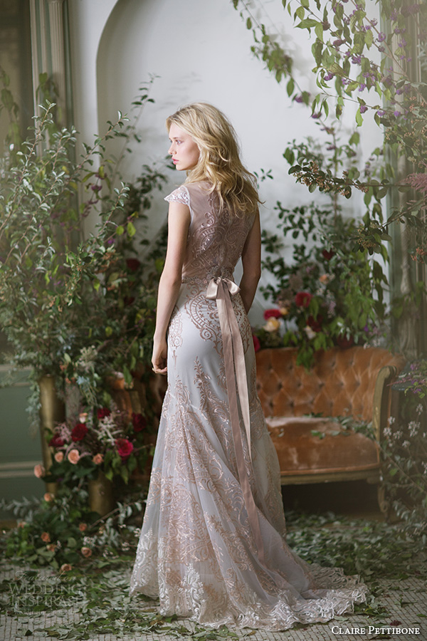 claire pettibone fall 2016 cap sleeves illusion jewel neckline fully embellished rose gold lace vintage trumpet wedding dress lace back sweep train (vanderbilt) mv