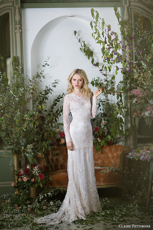 claire pettibone fall 2016 long sleeves illusion v neck sweetheart neckline fully embellished vintage elegant lace sheath wedding dress illusion back sweep train (pearle) mv