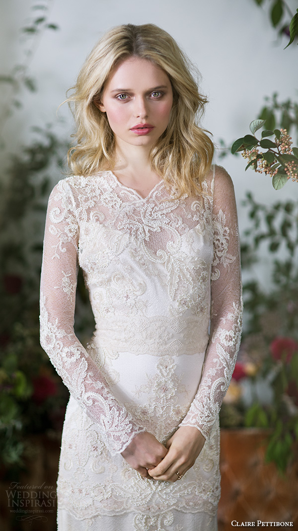 claire pettibone fall 2016 long sleeves illusion v neck sweetheart neckline fully embellished vintage elegant lace sheath wedding dress illusion back sweep train (pearle) zv