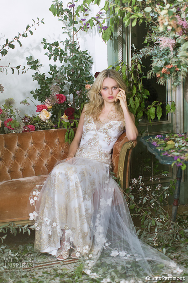 claire pettibone fall 2016 sleeveless thick lace strap sweetheart neckline fully embellished vintage sheath wedding dress keyhole back (asscher) mv