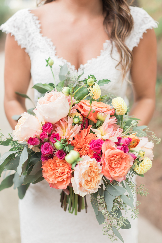Orange, blush, and yellow bridal bouquet   Alicia Lacey Photography   see more on: http://burnettsboards.com/2016/01/darling-outer-banks-wedding/