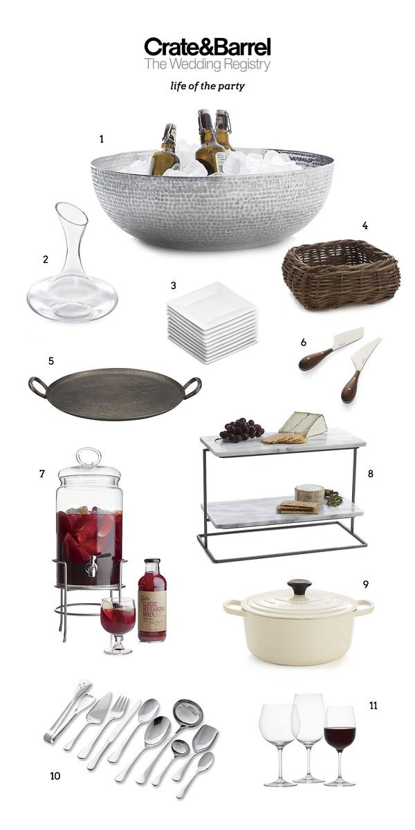 wedding registry crate barrel party gift serving plate cheese knife decanter drink dispenser flatware wine glass french oven