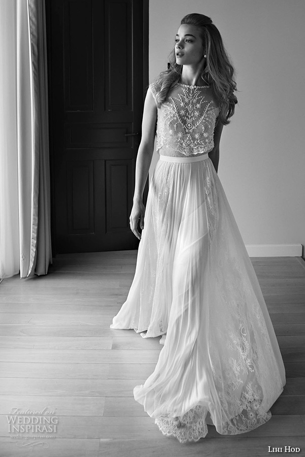 lihi hod wedding dresses 2015 bridal gown bateau neckline sleeveless embroidered lace top pleated tulle skirt dress style maple tree