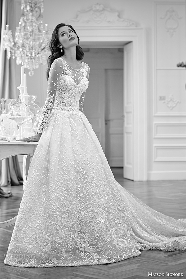 maison signore 2016 bridal gowns beautiful a line ball gown wedding dress illusion lace long sleeves lace embroidered