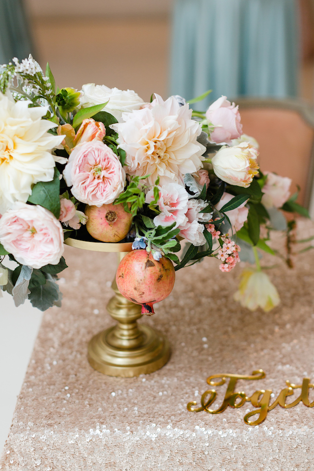 Pomegranate and peony floral centerpiece | Jessica Haley Photography | @aislesociety | see more on: http://burnettsboards.com/2016/01/aisle-society-debut-sponsored-minted/