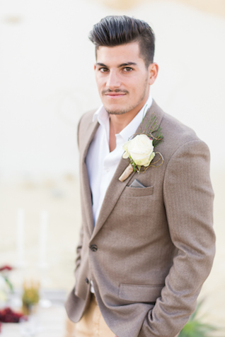 Desert wedding groom's attire | Lightburst Photography | see more on: http://burnettsboards.com/2016/01/earthy-sophisticated-desert-wedding/