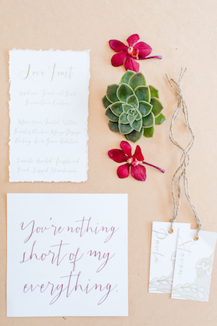 Marsala and succulent wedding invitations | Lightburst Photography | see more on: http://burnettsboards.com/2016/01/earthy-sophisticated-desert-wedding/