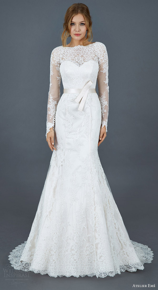 atelier eme 2016 paola long sleeve alencon lace trumpet mermaid wedding dress illusion neckline