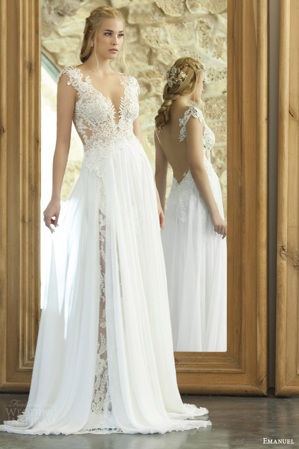emanuel haute couture bridal 2015 sexy sheath wedding dress lace bodice illusion open back ethereal sheer overskirt