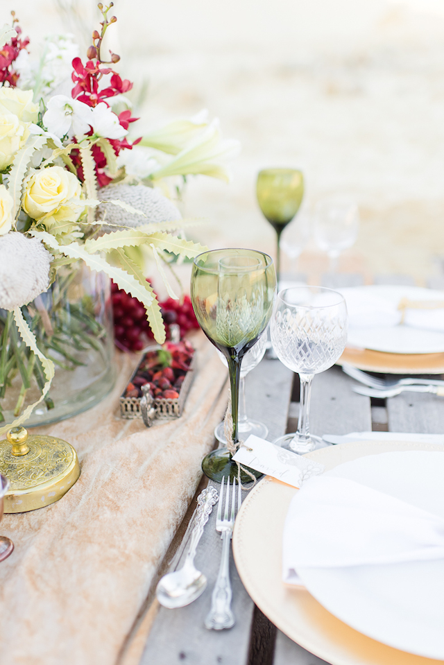 Green stemware | Lightburst Photography | see more on: http://burnettsboards.com/2016/01/earthy-sophisticated-desert-wedding/