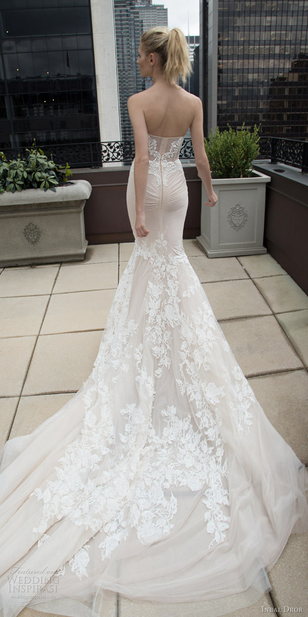 inbal dror 2016 strapless sweetheart lace mermaid wedding dress nude train style 17 bkv train