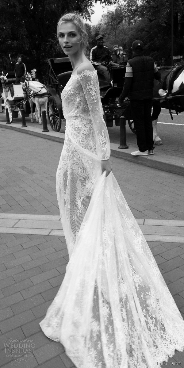 inbal dror 2016 off shoulder illusion blouson bodice long sleeve bishop lace a line wedding dress style 07 bkv