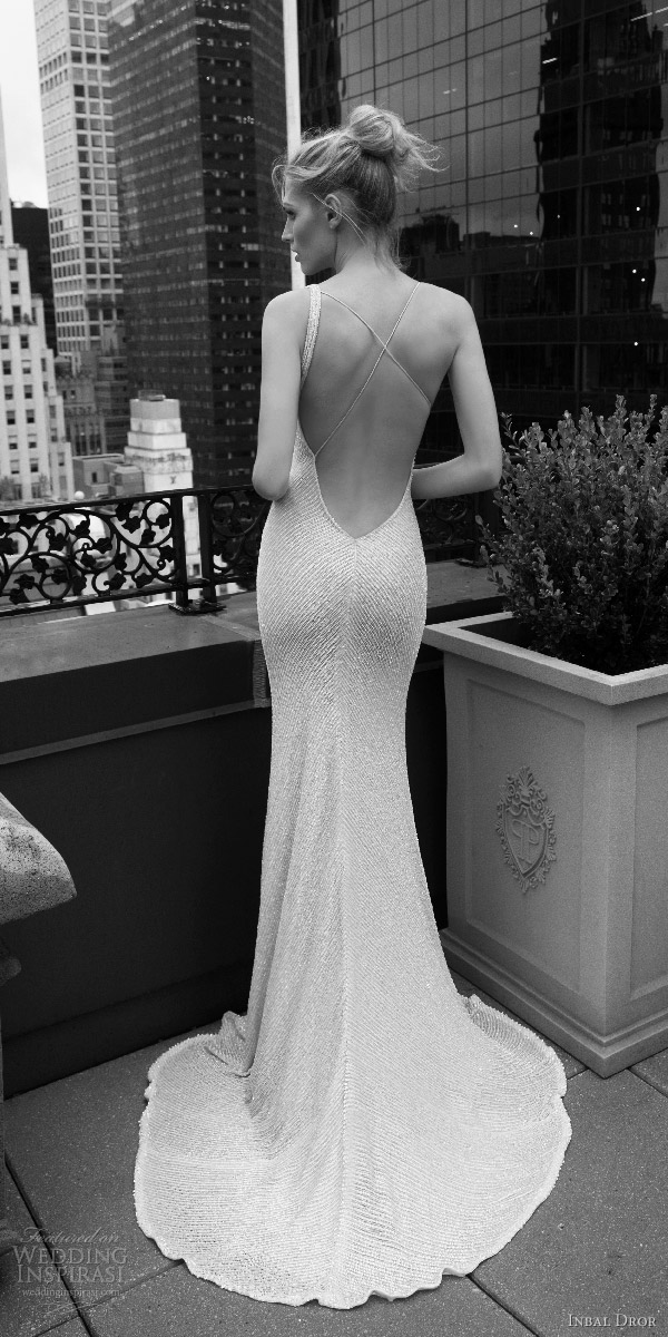inbal dror 2016 sleeveless strap v neck sheath wedding dress heavily beaded style 09 bkv puddle train