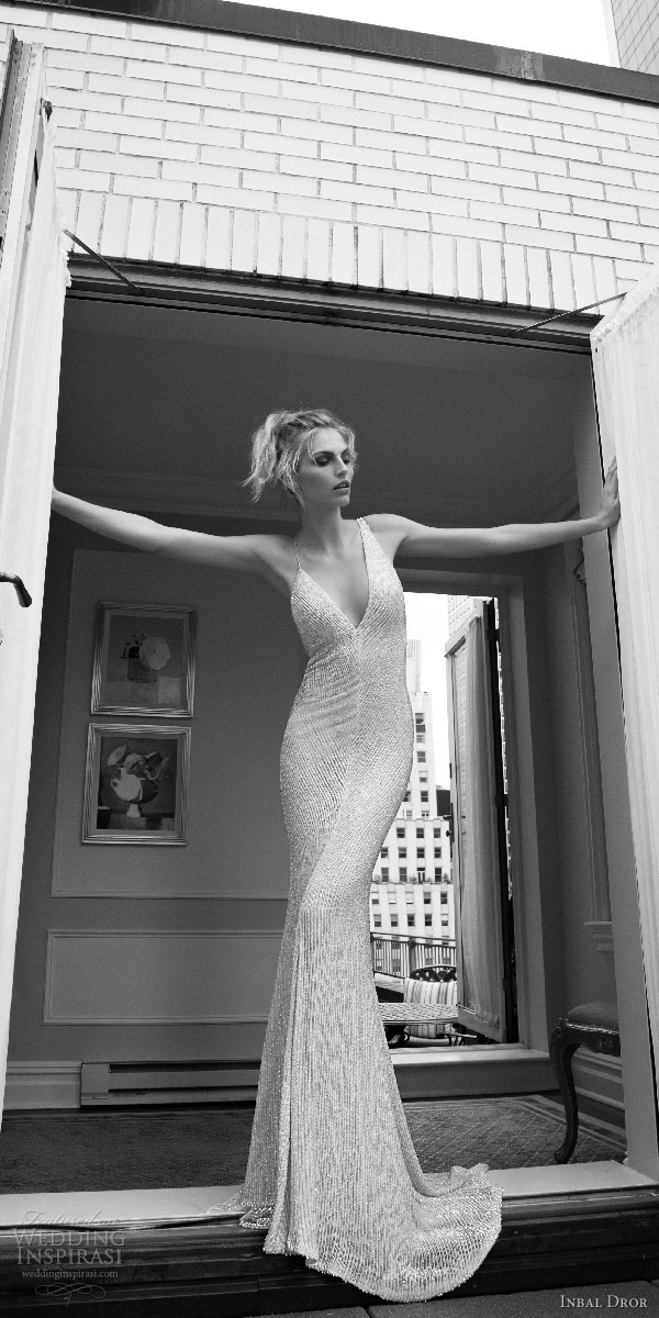 inbal dror 2016 sleeveless strap v neck sheath wedding dress heavily beaded style 09 mv