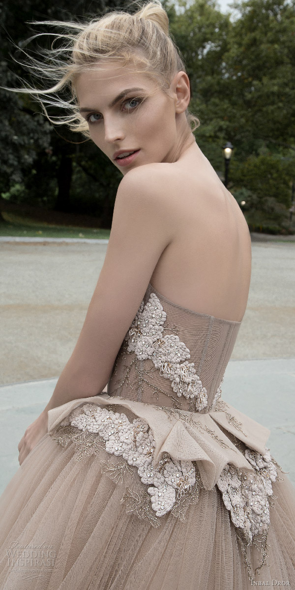 inbal dror 2016 strapless sweetheart corset ball gown wedding dress embellished bodice peplum taupe color style 04 sdv