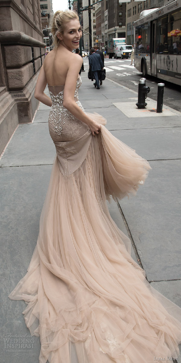 inbal dror 2016 strapless sweetheart fit flare mermaid wedding dress taupe color train style 05 bkv